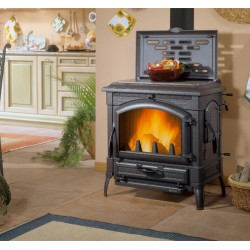 Cast iron wood burning stove with hob rings ISOTTA CON CERCHI EVO