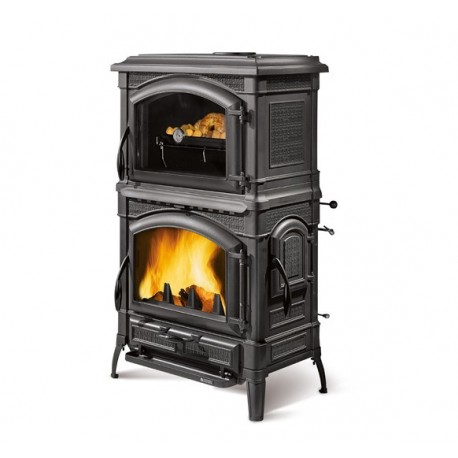 Cast iron wood burning stove with cooking oven ISOTTA FORNO